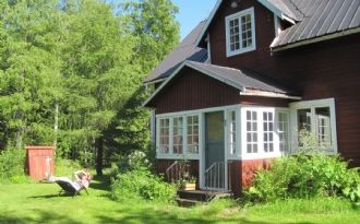 Typical Swedish House near lake and village