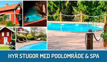 Stugor med pool och spabad, 1 timme från Stockholm