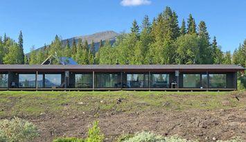 Nybyggt radhus vid backen på Avasjösidan